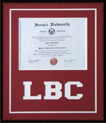 Lancaster Bible College Diploma Frame