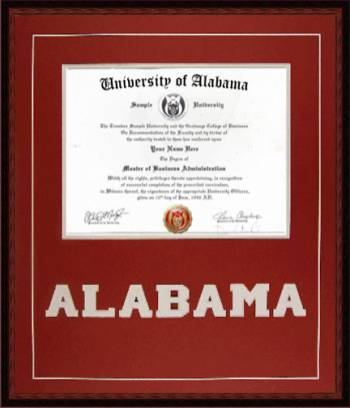 University of Alabama Diploma Frame